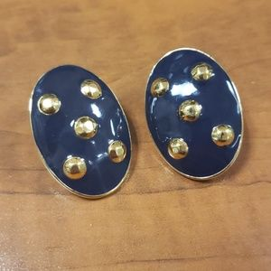 MONET Vintage Navy and Gold Clip on Earrings